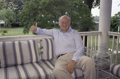 New York&#39;s Mayor Edward I. Koch gives the thumbs up while sitting on the veranda at his Gracie Mansion residence in New York, on Sunday, August 9, 1987.   Earlier Koch was released from Columbia-Presbyterian Medical Center, where he was treated for a minor stroke. &#40;AP Photo&#47;             Wilbur Funches&#41; <span class=meta>(AP Photo&#47; Wilbur Funches)</span>