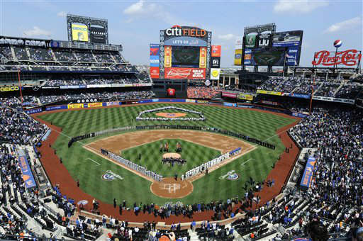 "<div class=""meta ""><span class=""caption-text "">The New York Mets and the San Diego Padres line Citi Field on Opening Day of a baseball game on Monday, April 1, 2013 in New York. On the field, the Mets also honored first responders and volunteers who help Hurricane Sandy victims. (AP Photo/Kathy Kmonicek) (AP Photo/ Kathy Kmonicek)</span></div>"