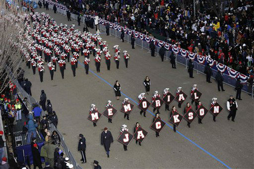 "<div class=""meta ""><span class=""caption-text "">Jackson Memorial High School ,Jaguar, Band, New Jersey  perform while passing the presidential box and the White House during the Inaugural parade, Monday, Jan. 21, 2013, in Washington. Thousands  marched during the 57th Presidential Inauguration parade after the ceremonial swearing-in of President Barack Obama. (AP Photo/Charlie Neibergall ) (AP Photo/ Charlie Neibergall)</span></div>"
