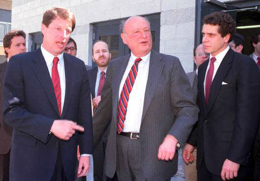 Democratic presidential candidate Sen. Albert Gore, left, talks with New York Mayor Ed Koch, center, and Andrew Cuomo March 28,1988 at a hearing on aid for the homeless in Brooklyn, N.Y. Many politicians joined the congressional hearing to assail a proposed federal regulation that would limit funding for families in welfare hotels. &#40;AP Photo&#47;Wilbur Funches&#41; <span class=meta>(AP Photo&#47; WILBUR FUNCHES)</span>
