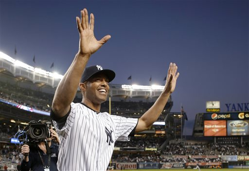 Mariano Rivera said goodbye to Yankee Stadium with hugs, tears and cheers. <span class=meta>(AP Photo&#47; KATHY WILLENS)</span>