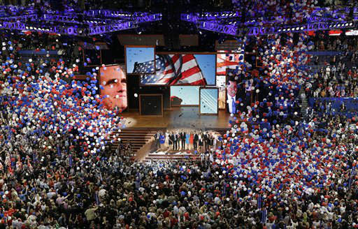 Republican presidential nominee Mitt Romney and vice presidential nominee Rep. Paul Ryan are join on the stage by their families at the end of the Republican National Convention in Tampa, Fla., on Thursday, Aug. 30, 2012. &#40;AP Photo&#47;Patrick Semansky&#41; <span class=meta>(AP Photo&#47; Patrick Semansky)</span>