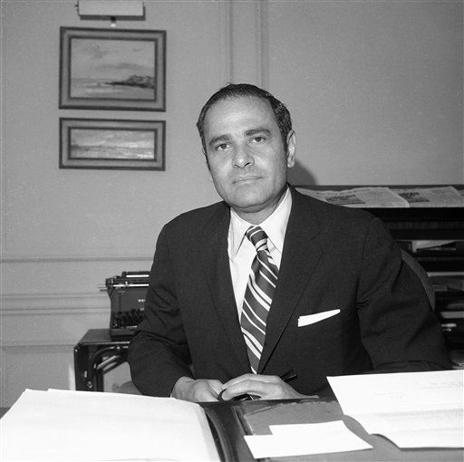 "<div class=""meta image-caption""><div class=""origin-logo origin-image ""><span></span></div><span class=""caption-text"">FILE - This March 12, 1973 file photo shows New York Times publisher Arthur Ochs Sulzberger in his office in New York. Sulzberger has died at age 86.  The newspaper reports that his family says Sulzberger died Saturday, Sept. 29, 2012, at his home in Southampton, N.Y., after a long illness. He had retired in 1992 after three decades at the paper's helm and was succeeded by his son, Arthur Jr. (AP Photo/Anthony Camerano, File) (AP Photo/ Anthony Camerano)</span></div>"