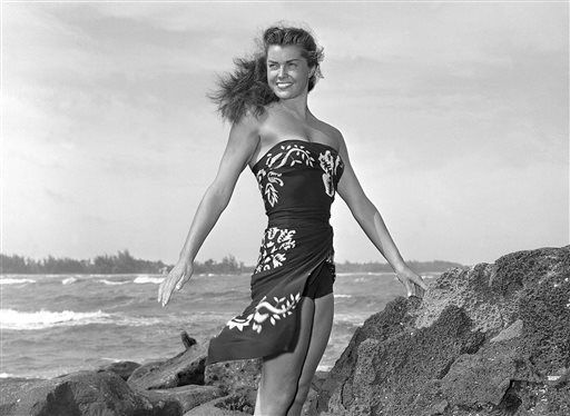 "<div class=""meta ""><span class=""caption-text "">FILE - This May 1950 file publicity photo originally released by Metro-Goldwyn-Mayer shows Esther Williams on location for the film ""Pagan Love Song. According to a press representative, Williams died in her sleep on Thursday, June 6, 2013, in Beverly Hills, Calif.  She was 91.  (AP Photo/Metro-Goldwyn-Mayer, file) (AP Photo/ Uncredited)</span></div>"