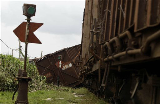 "<div class=""meta ""><span class=""caption-text "">A derailed wagon is seen after the passing of Hurricane Sandy in Santiago de Cuba, Cuba, Thursday Oct. 25, 2012. Hurricane Sandy blasted across eastern Cuba on Thursday as a potent Category 2 storm and headed for the Bahamas after causing at least two deaths in the Caribbean. (AP Photo/Franklin Reyes) (AP Photo/ Franklin Reyes)</span></div>"