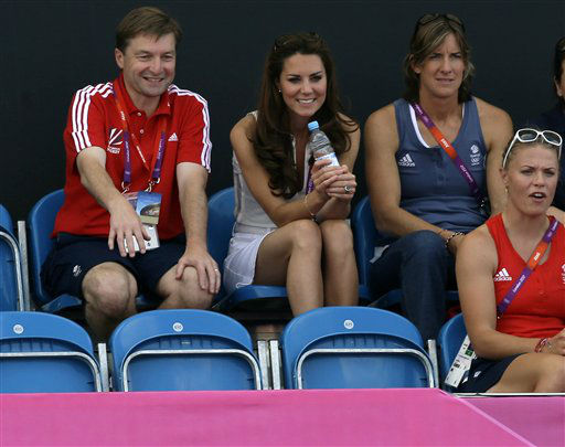 Britain&#39;s Kate, Duchess of Cambridge, center, watches the women&#39;s hockey bronze medal match between Britain and New Zealand at the 2012 Summer Olympics, Friday, Aug. 10, 2012, in London. &#40;AP Photo&#47;Bullit Marquez&#41; <span class=meta>(AP Photo&#47; Bullit Marquez)</span>