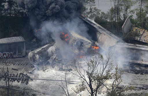 A fire burns at the site of a CSX freight train derailment, Tuesday, May 28, 2013, in Rosedale, Md., where fire officials say the train crashed into a trash truck, causing an explosion that rattled homes at least a half-mile away and collapsed nearby buildings, setting them on fire. &#40;AP Photo&#47;Patrick Semansky&#41; <span class=meta>(AP Photo&#47; Patrick Semansky)</span>