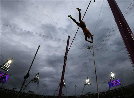 Australia&#39;s Alana Boyd clears the bar in the women&#39;s pole vault final during the athletics in the Olympic Stadium at the 2012 Summer Olympics, London, Monday, Aug. 6, 2012. &#40;AP Photo&#47;David J. Phillip&#41; <span class=meta>(AP Photo&#47; David J. Phillip)</span>