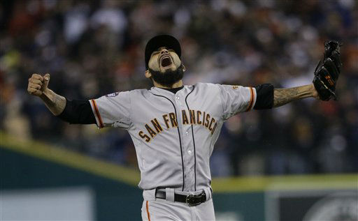 San Francisco Giants&#39; Sergio Romo reacts after striking out Detroit Tigers&#39; Miguel Cabrera in the 10th inning of Game 4 of baseball&#39;s World Series Sunday, Oct. 28, 2012, in Detroit. The Giants won the game 4-3 to win the World Series. &#40;AP Photo&#47;Matt Slocum&#41; <span class=meta>(AP Photo&#47; Matt Slocum)</span>