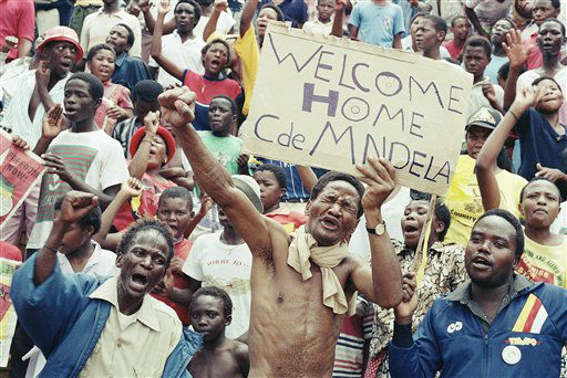 Some of the 20,000 jubilant ANC supporters who gathered on Sunday, Feb. 11, 1990 in Soweto, South Africa at Jabulani Stadium to celebrate the release of ANC leader Nelson Mandela. &#40;AP Photo&#47;Raymond Preston&#41; <span class=meta>(AP Photo&#47; Raymond Preston)</span>