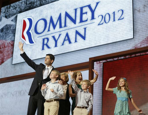 Republican vice presidential nominee, Rep. Paul Ryan, joined by his family, from left, Charlie, mother Betty Ryan Douglas, wife Janna, Sam and Liza, waves after his acceptance speech during the Republican National Convention in Tampa, Fla., on Wednesday, Aug. 29, 2012. &#40;AP Photo&#47;Charles Dharapak&#41; <span class=meta>(AP Photo&#47; Charles Dharapak)</span>