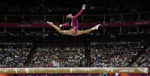 "<div class=""meta ""><span class=""caption-text "">U.S. gymnast Gabrielle Douglas performs on the balance beam during the artistic gymnastics women's individual all-around competition at the 2012 Summer Olympics, Thursday, Aug. 2, 2012, in London. (AP Photo/Gregory Bull) (AP Photo/ Gregory Bull)</span></div>"
