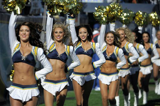 "<div class=""meta image-caption""><div class=""origin-logo origin-image ""><span></span></div><span class=""caption-text"">San Diego Chargers cheerleader perform as the team plays the Cincinnati Bengals during the first half of an NFL football game Sunday, Dec. 2, 2012, in San Diego. (AP Photo/Denis Poroy) (AP Photo/ Denis Poroy)</span></div>"