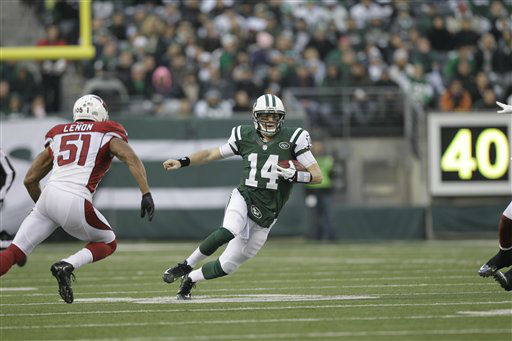 "<div class=""meta ""><span class=""caption-text "">New York Jets quarterback Greg McElroy scrambles during the second half of an NFL football game, Sunday, Dec. 2, 2012, in East Rutherford, N.J. The Jets won 7-6. (AP Photo/Kathy Willens) (AP Photo/ Kathy Willens)</span></div>"