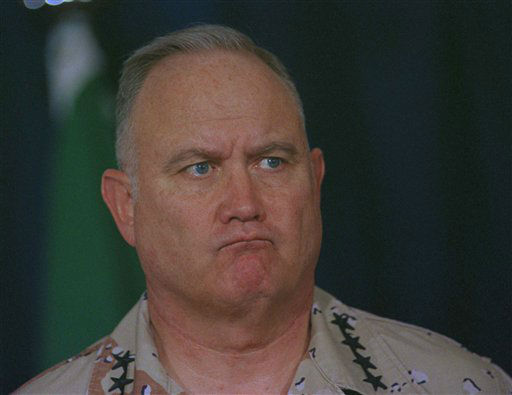 U.S. Army General H. Norman Schwarzkopf scowls as he fields a question from the media, Wednesday, Jan. 30, 1991 in Riyadh, Saudi Arabia at the daily military briefing. Schwarzkopf was reacting to a question about the treatment of Allied prisoners of war by the Iraqis. &#40;AP Photo&#47;John Gaps III&#41; <span class=meta>(AP Photo&#47; John Gaps III)</span>