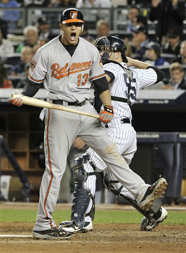 Baltimore Orioles&#39; Manny Machado &#40;13&#41; reacts after striking out during the seventh inning of Game 4 of the American League division baseball series against the New York Yankees, Thursday, Oct. 11, 2012, in New York. &#40;AP Photo&#47;Bill Kostroun&#41; <span class=meta>(AP Photo&#47; Bill Kostroun)</span>