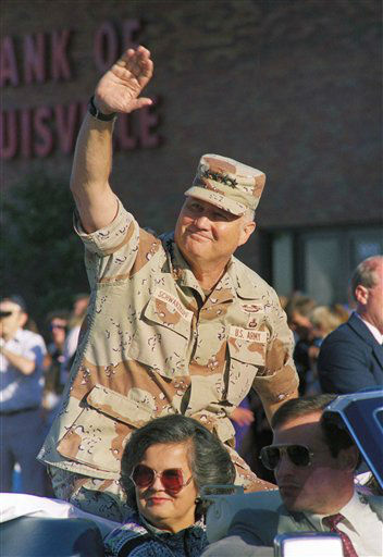 Gen. Norman Schwarzkopf waves to the crowds with his wife Brenda at the Kentucky Derby Festival Pegasus Parade, Thursday, May 3, 1991 in Louisville, Ky. Schwarzkopf was the parade?s grand marshal. &#40;AP Photo&#47;Bud Kraft&#41; <span class=meta>(AP Photo&#47; Bud Kraft)</span>