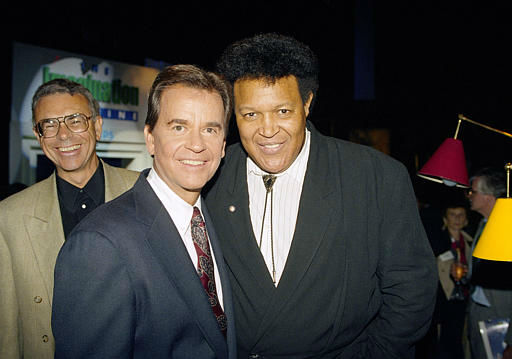 Long-time host of American Bandstand Dick Clark, left, and singer Chubby Checker get together in New York Wednesday afternoon, October 16, 1991. Clark will be 62 on Nov. 30 and Checker turned 50 on Oct. 3. Checker, who got the name &#34;Chubby&#34; from Clark&#39;s wife, first appeared on Clark&#39;s television show April 29, 1959 and did the Twist Sept. 29, 1960. &#40;AP Photo&#47;Richard Drew&#41; <span class=meta>(AP Photo&#47; RICHARD DREW)</span>