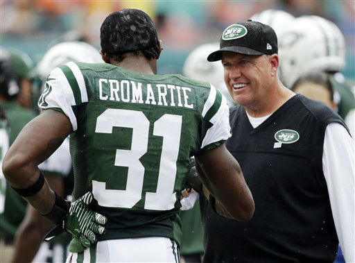 "<div class=""meta ""><span class=""caption-text "">New York Jets head coach Rex Ryan talks to cornerback Antonio Cromartie (31) during the first half of an NFL football game against the Miami Dolphins, Sunday, Sept. 23, 2012, in Miami. (AP Photo/Lynne Sladky) (AP Photo/ Lynne Sladky)</span></div>"