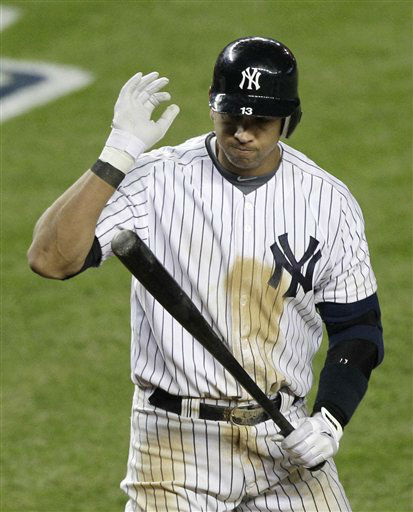 New York Yankees&#39; Alex Rodriguez reacts after striking out in the sixth inning during Game 1 of the American League championship series against the Detroit Tigers Saturday, Oct. 13, 2012, in New York. &#40;AP Photo&#47;Kathy Willens&#41; <span class=meta>(AP Photo&#47; Kathy Willens)</span>
