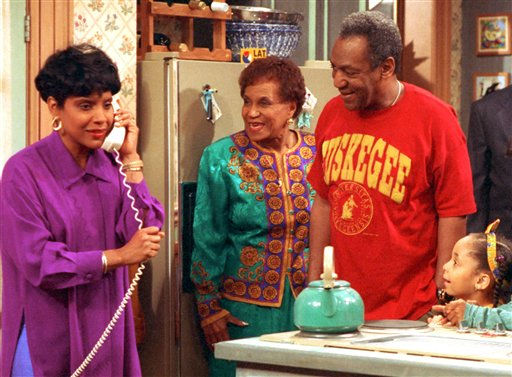In this 1992 file photo originally released by NBC, Phylicia Rashad, portraying Clair Huxtable, left, talks on the telephone while  Clarice Taylor, portraying Anna Huxtable, center, and Bill Cosby, portraying  Dr. Cliff Huxtable and  Raven Symone portraying Olivia, right, look on in a scene from &#34;The Cosby Show. Clarice Taylor, the actress and comedian best known for playing grandmothers on &#34;The Cosby Show&#34; and &#34;Sesame Street,&#34;  died of congestive heart failure in her home in Englewood, N.J., on Monday, May 30, 2011, said her son, William Taylor. She was 93. &#40;AP Photo&#47;NBC, file&#41; <span class=meta>(AP Photo&#47; Anonymous)</span>