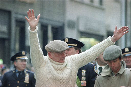 Former New York Mayor Ed Koch waves to the crowd along New York&#39;s Fifth Avenue as he marches in the St. Patrick&#39;s Day Parade, Tuesday, March 17, 1992 in New York. &#40;AP Photo&#47;Mark Phillips&#41; <span class=meta>(AP Photo&#47; Mark Phillips)</span>