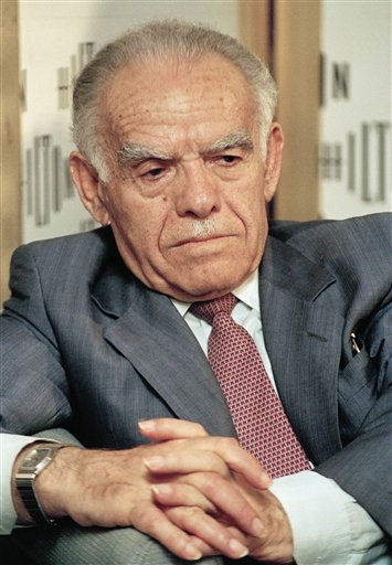 Israeli Prime Minister Yitzhak Shamir seen on Tuesday June 23, 1992 on television in Tel Aviv. Shamir, who clung throughout his life to the belief that Israel should hang on to territory and never trust an Arab regime, died Saturday, June 30, 2012. He was 96 years old.  &#40;AP Photo&#41; <span class=meta>(AP Photo&#47; Anonymous)</span>