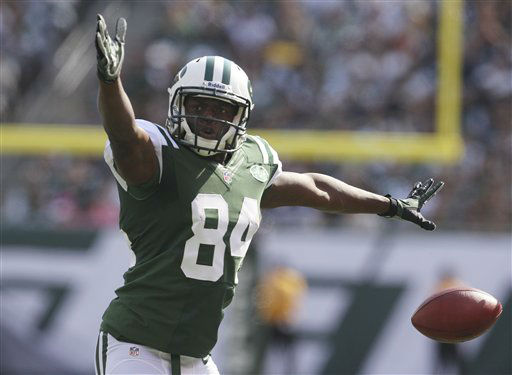 New York Jets wide receiver Stephen Hill &#40;84&#41; celebrates after making a first down during the first half of an NFL football game against the Indianapolis Colts Sunday, Oct. 14, 2012 in East Rutherford, N.J. &#40;AP Photo&#47;Seth Wenig&#41; <span class=meta>(AP Photo&#47; Seth Wenig)</span>