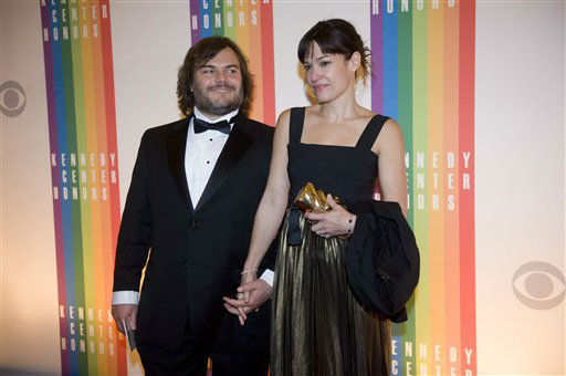 Actor Jack Black and wife, Tanya Haden, arrive at the Kennedy Center for the Performing Arts for the 2012 Kennedy Center Honors Performance and Gala Sunday, Dec. 2, 2012 at the State Department in Washington. &#40;AP Photo&#47;Kevin Wolf&#41; <span class=meta>(AP Photo&#47; Kevin Wolf)</span>