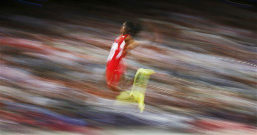 United States&#39; Brittney Reese competes in the women&#39;s long jump final to win gold during the athletics in the Olympic Stadium at the 2012 Summer Olympics, London, Wednesday, Aug. 8, 2012. &#40;AP Photo&#47;Matt Dunham&#41; <span class=meta>(AP Photo&#47; Matt Dunham)</span>
