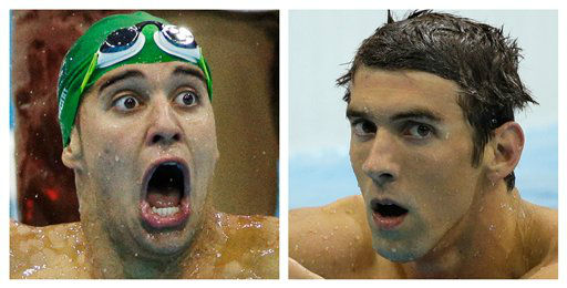 "<div class=""meta ""><span class=""caption-text "">In this combination of two photos, South Africa's Chad le Clos, left, reacts as he wins gold, and the United States' Michael Phelps, reacts after winning silver in the men's 200-meter butterfly swimming final at the Aquatics Centre in the Olympic Park during the 2012 Summer Olympics in London. (AP Photo) (AP Photo/ Uncredited)</span></div>"