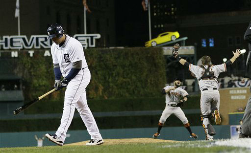 Detroit Tigers&#39; Miguel Cabrera walks away after striking out to end Game 4 of baseball&#39;s World Series against the San Francisco Giants  Sunday, Oct. 28, 2012, in Detroit. The Giants won 4-3 to win the series. &#40;AP Photo&#47;Matt Slocum&#41; <span class=meta>(AP Photo&#47; Matt Slocum)</span>