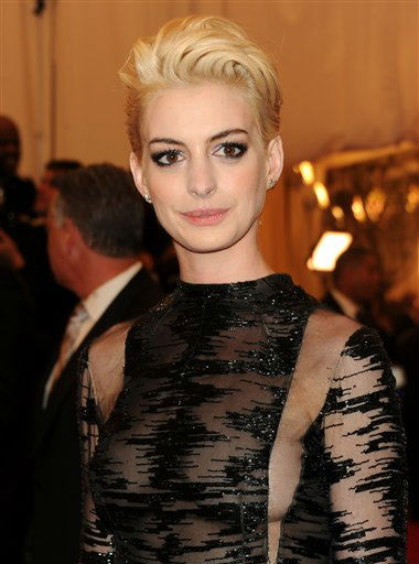 "Actress Anne Hathaway attends The Metropolitan Museum of Art Costume Institute gala benefit, ""Punk: Chaos to Couture"", on Monday, May 6, 2013 in New York. (Photo by Evan Agostini/Invision/AP)"