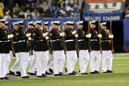 "<div class=""meta ""><span class=""caption-text "">The United States Marines perform during the halftime of an NFL football game between the New York Giants and the Pittsburgh Steelers Sunday, Nov. 4, 2012 in East Rutherford, N.J.  (AP Photo/Bill Kostroun) (AP Photo/ Bill Kostroun)</span></div>"
