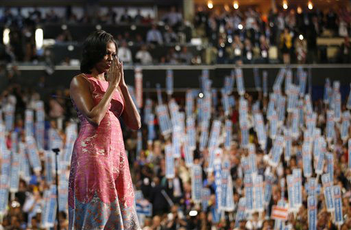"<div class=""meta ""><span class=""caption-text "">First Lady Michelle Obama waves after addressing the Democratic National Convention in Charlotte, N.C., on Monday, Sept. 3, 2012.  (AP Photo/Jae C. Hong) (AP Photo/ Jae C. Hong)</span></div>"