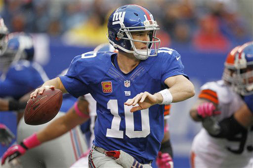 New York Giants quarterback Eli Manning &#40;10&#41; throws a pass during the first half of an NFL football game against the Cleveland Browns Sunday, Oct. 7, 2012, in East Rutherford, N.J. &#40;AP Photo&#47;Julio Cortez&#41; <span class=meta>(AP Photo&#47; Julio Cortez)</span>