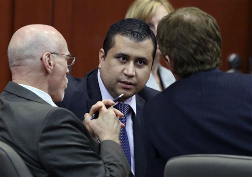 "<div class=""meta ""><span class=""caption-text "">George Zimmerman, center,  talks to his attorneys Don West, left, and Mark O'Mara during jury deliberations in his trial in Seminole circuit court in Sanford, Fla. Saturday, July 13, 2013. Zimmerman has been charged with second-degree murder for the 2012 shooting death of Trayvon Martin. (AP Photo/Orlando Sentinel, Gary W. Green, Pool) (AP Photo/ Gary W. Green)</span></div>"