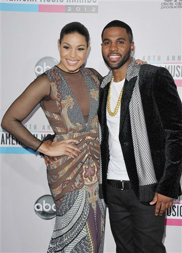 Jordin Sparks and Jason DeRulo arrive at the 40th Anniversary American Music Awards on Sunday, Nov. 18, 2012, in Los Angeles.  <span class=meta>(AP Photo)</span>