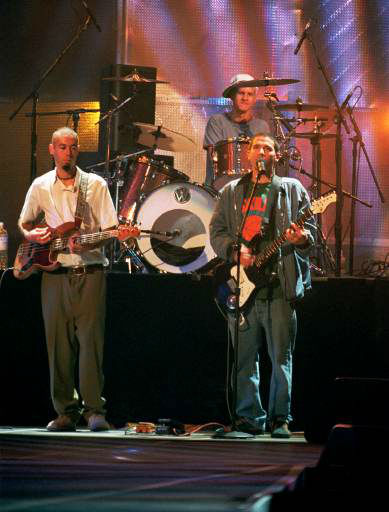 The Beastie Boys, Ad-Rock, right, MCA, left, and Mike D. , rear, rehearse at New York&#39;s Radio City Music Hall Sept. 7, 1994. The trio, riding high on the success of their album &#34;Ill Communication&#34; was scheduled to perform during the MTV Video Music Awards show at the Music Hall the following night. &#40;AP Photo&#47;Justin Sutcliffe&#41; <span class=meta>(AP Photo&#47; JUSTIN SUTCLIFFE)</span>
