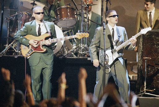 Ad-Rock &#40;Adam Horovitz&#41;, right, and MCA &#40;Adam Rauch&#41;, of the Beastie Boys, perform during the MTV Video Music Awards at New York?s Radio City Music Hall, Sept. 8, 1994. The band was also nominated for Best Group Video for ?Sabotage.? Other band members unidentified. &#40;AP Photo&#47;Bebeto Matthews&#41; <span class=meta>(AP Photo&#47; Bebeto Matthews)</span>