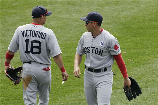 "<div class=""meta ""><span class=""caption-text "">Boston Red Sox right fielder Shane Victorino, left, and center fielder Jacoby Ellsbury exchange words after they failed to catch a fly ball by New York Yankees Ichiro Suzuki in the fourth inning of a baseball game at Yankee Stadium, Monday, April 1, 2013 in New York. (AP Photo/Mark Lennihan) (AP Photo/ Mark Lennihan)</span></div>"