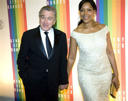 "<div class=""meta image-caption""><div class=""origin-logo origin-image ""><span></span></div><span class=""caption-text"">Former Kennedy Center Honoree Robert DeNiro arrives with his wife, Grace Hightower at the Kennedy Center for the Performing Arts for the 2012 Kennedy Center Honors Performance and Gala Sunday, Dec. 2, 2012 at the State Department in Washington. (AP Photo/Kevin Wolf) (AP Photo/ Kevin Wolf)</span></div>"