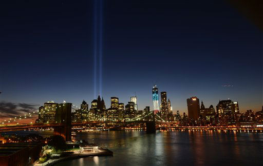 The Tribute in Light lights up lower Manhattan, Tuesday, Sept. 11, 2012 on the 11th anniversary of the terrorist attacks of Sept. 11, 2001 in New York. &#40;AP Photo&#47;Henny Ray Abrams&#41; <span class=meta>(AP Photo&#47; Henny Ray Abrams)</span>