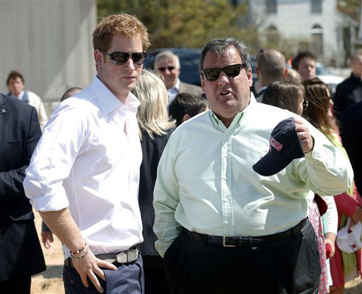 Britain&#39;s Prince Harry and N.J. Gov. Chris Christie talk during a visit to the area hit by Superstorm Sandy, Tuesday, May 14, 2013, in Mantoloking, N.J.  Prince Harry began a tour  of New Jersey?s storm-damaged coastline, inspecting dune construction, walking past destroyed homes and shaking hands with police and other emergency workers.  New Jersey sustained about &#36;37 billion worth of damage from the storm.  &#40;AP Photo&#47;The Star-Ledger, Andrew Mills, Pool&#41; <span class=meta>(AP Photo&#47; Andrew Mills)</span>