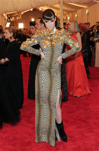 "Model Coco Rocha attends The Metropolitan Museum of Art Costume Institute gala benefit, ""Punk: Chaos to Couture"", on Monday, May 6, 2013 in New York. (Photo by Evan Agostini/Invision/AP)"
