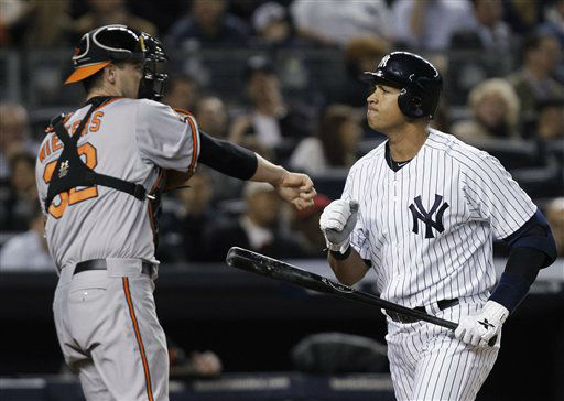 "<div class=""meta ""><span class=""caption-text "">New York Yankees' Alex Rodriguez reacts after striking out during the fourth inning of Game 3 of the American League division baseball series, as Baltimore Orioles catcher Matt Wieters throws the ball back to the pitcher Wednesday, Oct. 10, 2012, in New York. (AP Photo/Kathy Willens) (AP Photo/ Kathy Willens)</span></div>"