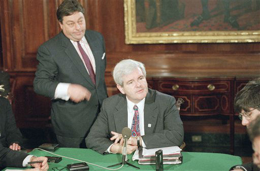 FILE- In this March 7, 1995, file photo, House Speaker Newt Gingrich, center, and his press secretary, Tony Blankly, left,  meet with reporters during a daily Capitol Hill news conference. Blankley, a conservative author and commentator who served as press secretary to Newt Gingrich during the 1990s, when Republicans took control of Congress, died Sunday, Jan. 8, 2012. He was 63. &#40;AP Photo&#47;Joe Marquette, File&#41; <span class=meta>(AP Photo&#47; Joe Marquette)</span>