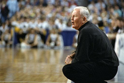 FILE - In this March 18, 1995, file photo, Saint Louis coach Charlie Spoonhour instructs his players during an NCAA East Regional Tournament college basketball game against Wake Forest in Baltimore, Md. Spoonhour, the popular, homespun coach who took Saint Louis to three NCAA tournaments behind a prolific offense, has died after battling a lung disease. He was 72.  &#40;AP Photo&#47;Ted Mathias, File&#41; <span class=meta>(AP Photo&#47; Ted Mathias)</span>