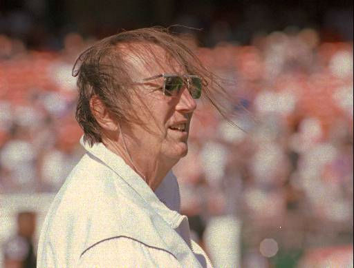 Oakland Raiders owner Al Davis has a hair raising experience before the game against the Indianapolis Colts at the Oakland Coliseum in Oakland, Calif. on Sunday, Oct. 22, 1995.&#40;AP Photo&#47;Paul Sakuma&#41; <span class=meta>(AP Photo&#47; PAUL SAKUMA)</span>