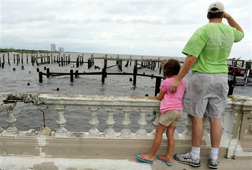 Onlookers watch Lake Pontachartrain, where restaurants were destroyed by Hurricane Katrina, as Isaac heads toward New Orleans, Tuesday, Aug. 28, 2012. The U.S. National Hurricane Center in Miami said Isaac became a Category 1 hurricane Tuesday with winds of 75 mph. It could get stronger by the time it&#39;s expected to reach the swampy coast of southeast Louisiana.  &#40;AP Photo&#47;Cheryl Gerber&#41; <span class=meta>(AP Photo&#47; CHERYL GERBER)</span>
